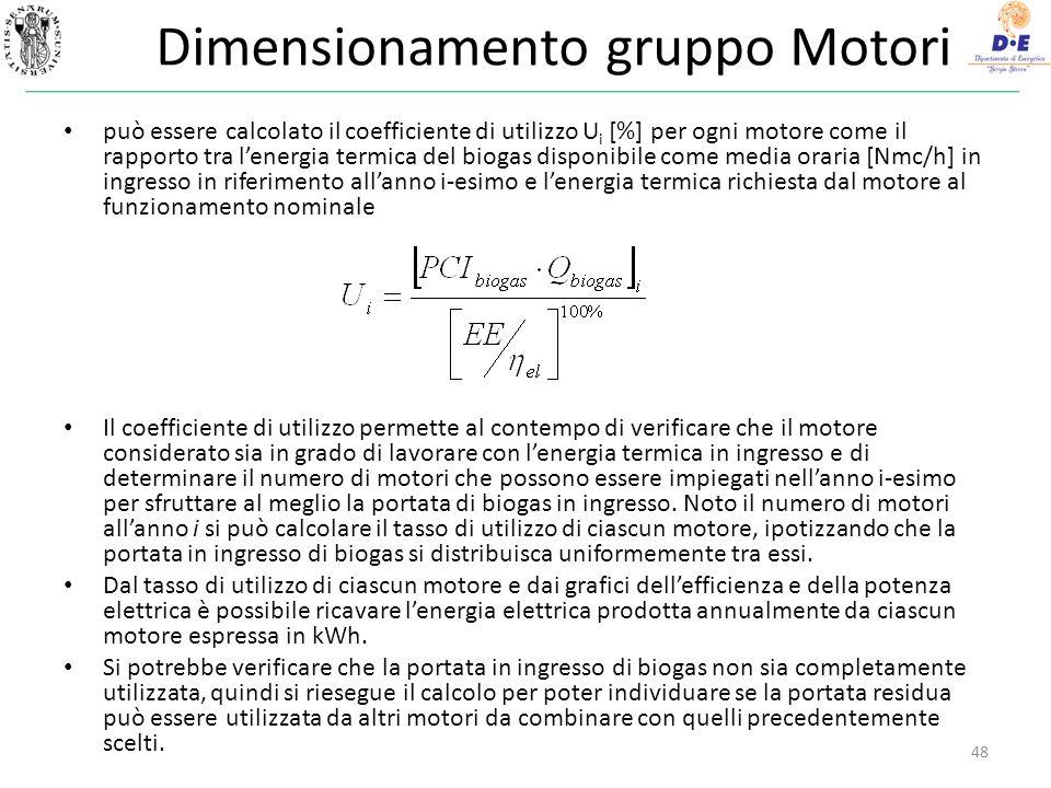 Dimensionamento gruppo Motori