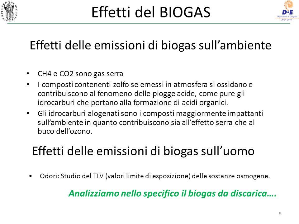 Effetti del BIOGAS Effetti delle emissioni di biogas sull'ambiente