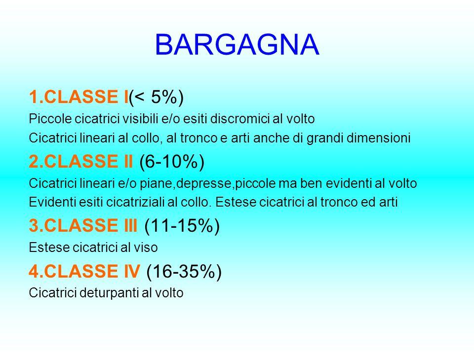BARGAGNA 1.CLASSE I(< 5%) 2.CLASSE II (6-10%) 3.CLASSE III (11-15%)