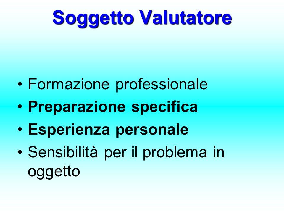 Soggetto Valutatore Formazione professionale Preparazione specifica