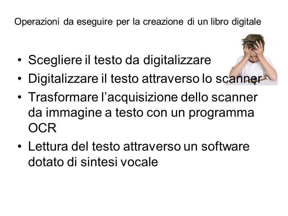 Scegliere il testo da digitalizzare