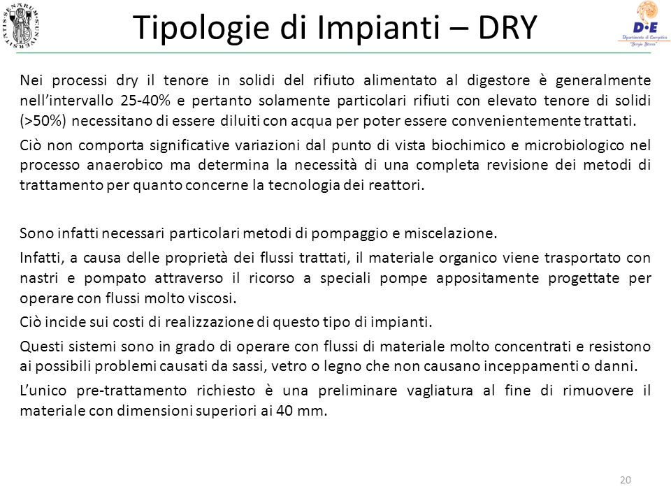 Tipologie di Impianti – DRY