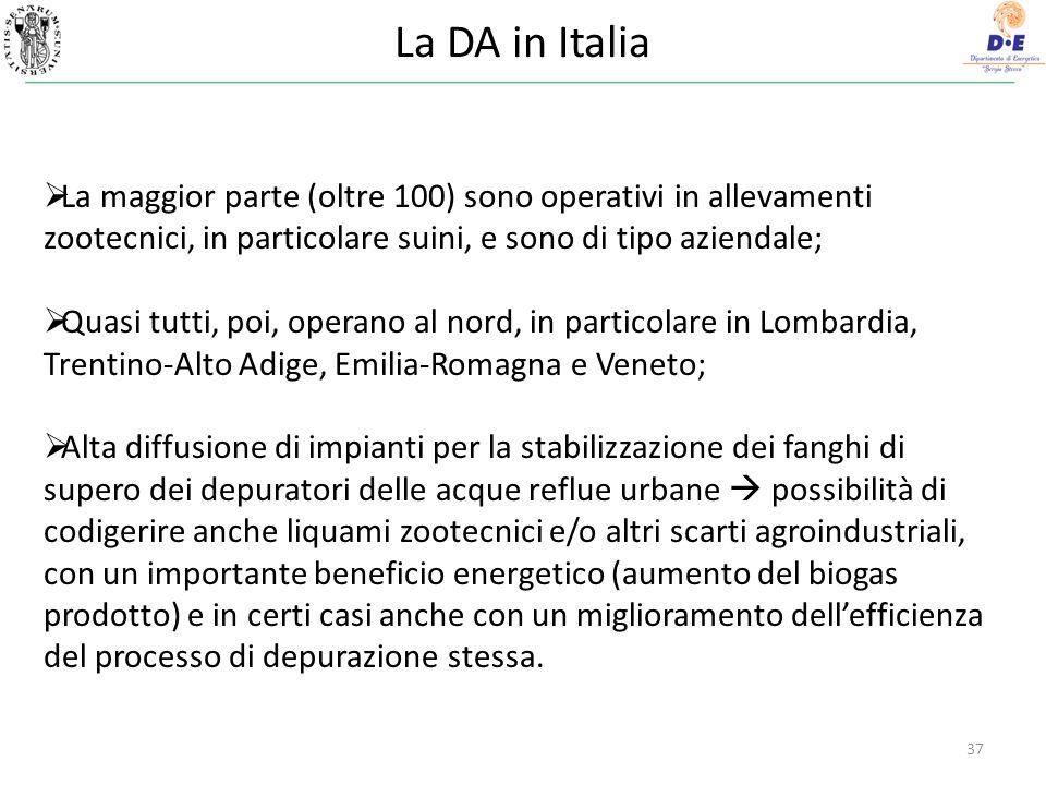 La DA in Italia La maggior parte (oltre 100) sono operativi in allevamenti zootecnici, in particolare suini, e sono di tipo aziendale;