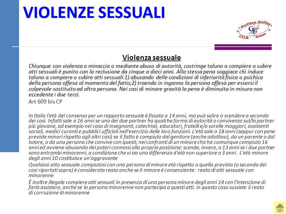 VIOLENZE SESSUALI Violenza sessuale