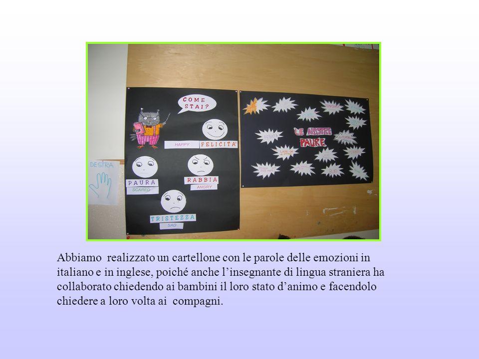 Abbiamo realizzato un cartellone con le parole delle emozioni in italiano e in inglese, poiché anche l'insegnante di lingua straniera ha collaborato chiedendo ai bambini il loro stato d'animo e facendolo chiedere a loro volta ai compagni.