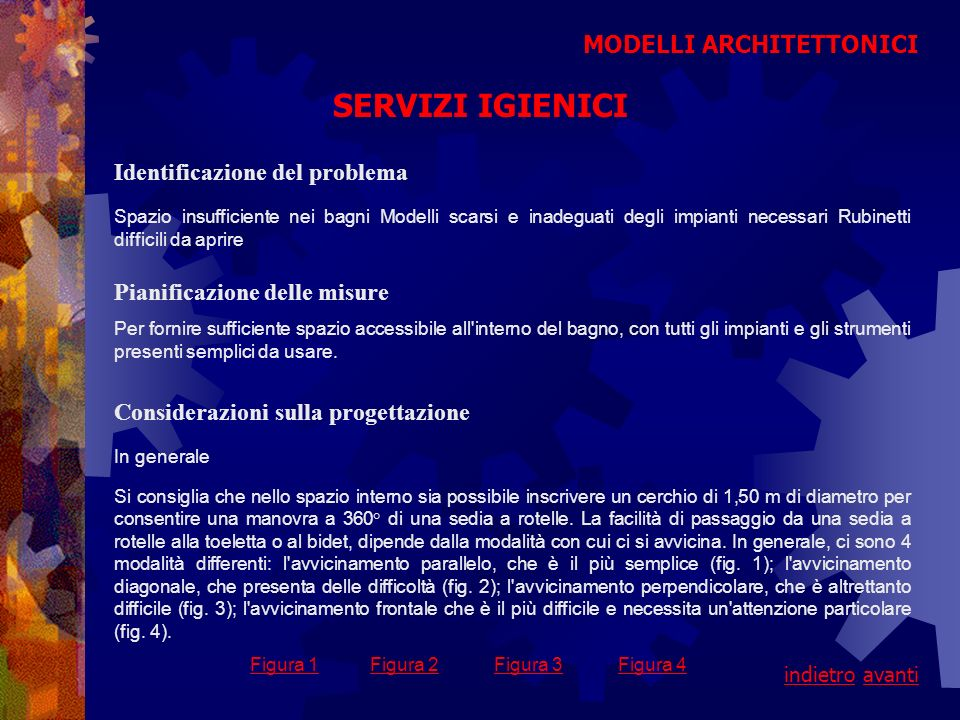 SERVIZI IGIENICI MODELLI ARCHITETTONICI Identificazione del problema