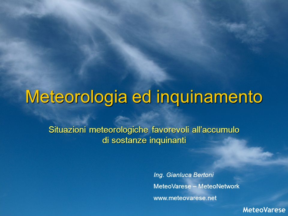 Meteorologia ed inquinamento