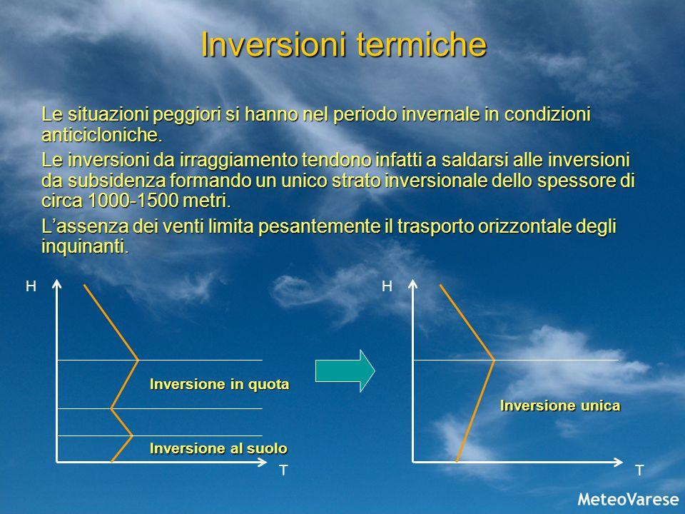 Inversioni termiche Le situazioni peggiori si hanno nel periodo invernale in condizioni anticicloniche.