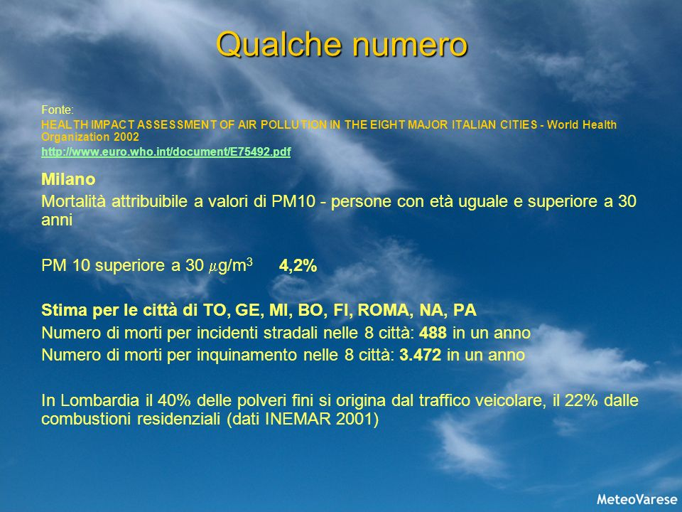 Qualche numero Fonte: HEALTH IMPACT ASSESSMENT OF AIR POLLUTION IN THE EIGHT MAJOR ITALIAN CITIES - World Health Organization 2002.