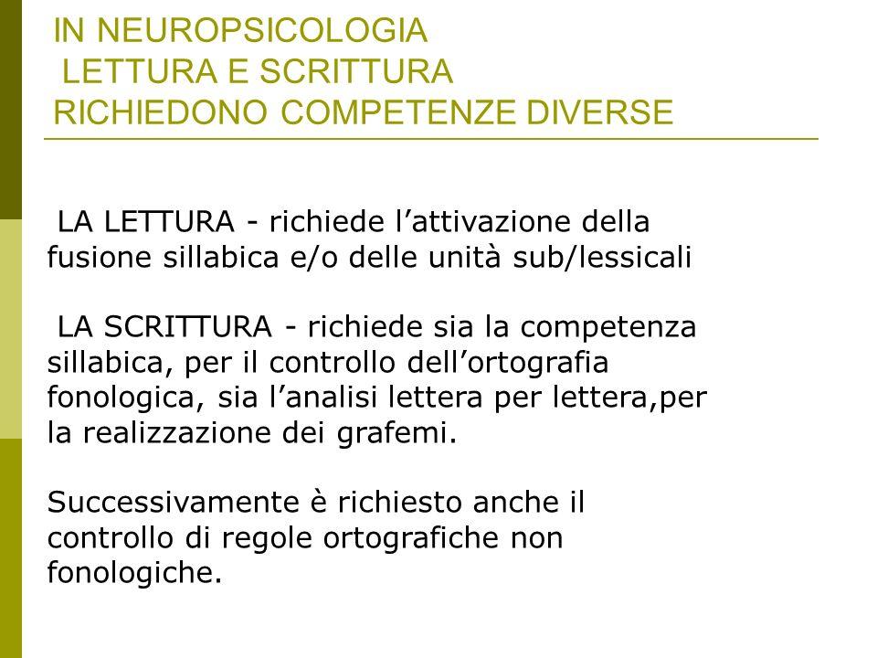 IN NEUROPSICOLOGIA LETTURA E SCRITTURA RICHIEDONO COMPETENZE DIVERSE