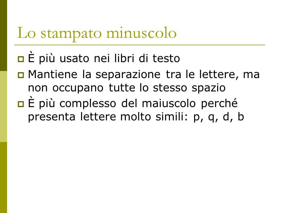 Lo stampato minuscolo È più usato nei libri di testo
