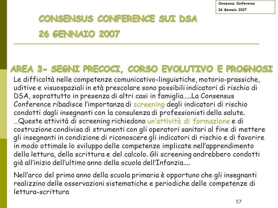 CONSENSUS CONFERENCE SUI DSA 26 GENNAIO 2007