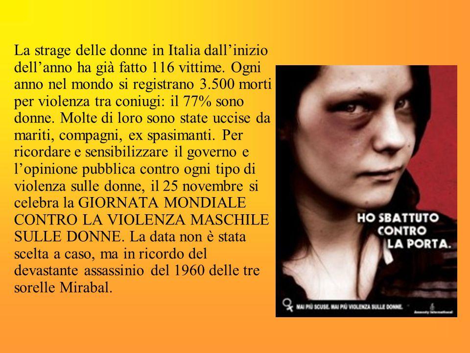 La strage delle donne in Italia dall'inizio dell'anno ha già fatto 116 vittime.