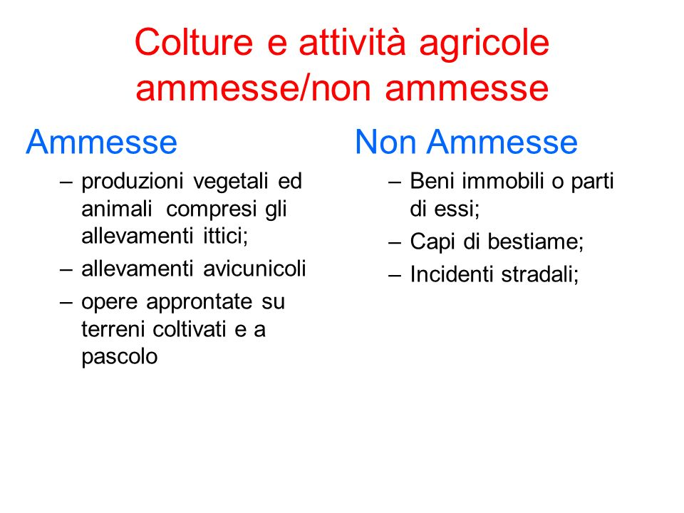 Colture e attività agricole ammesse/non ammesse