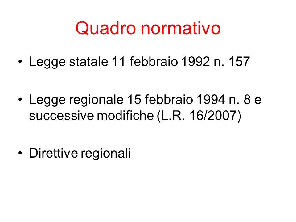 Quadro normativo Legge statale 11 febbraio 1992 n. 157