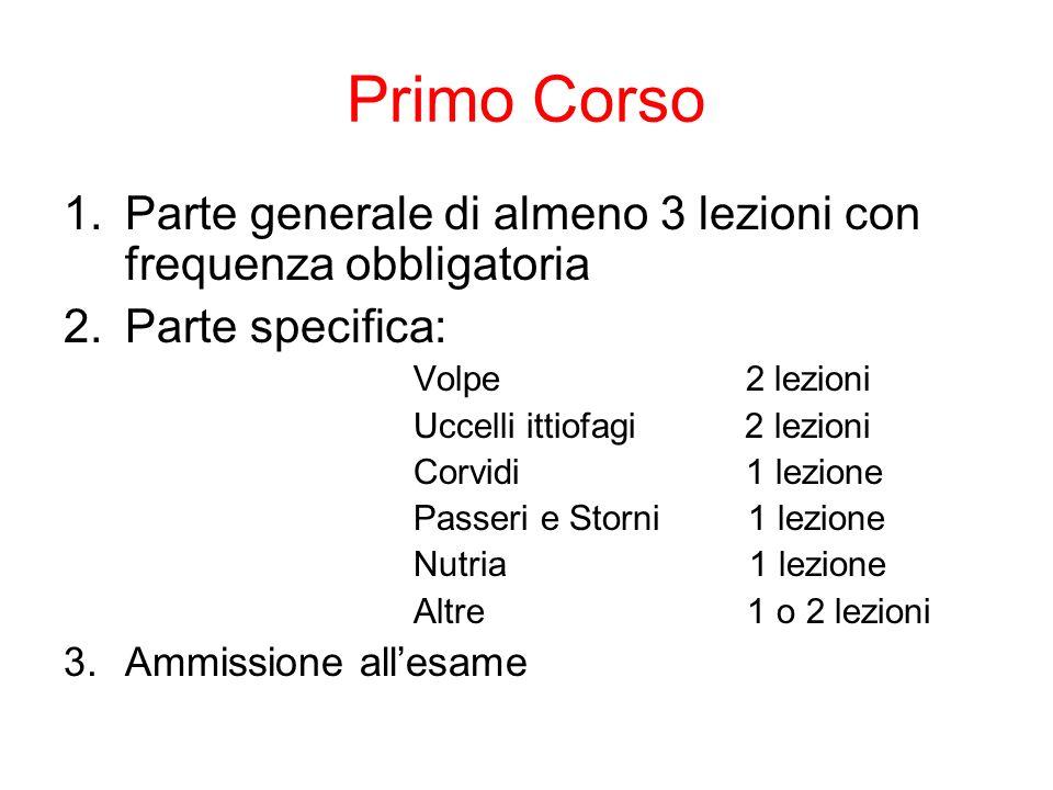 Primo Corso Parte generale di almeno 3 lezioni con frequenza obbligatoria. Parte specifica: Volpe 2 lezioni.