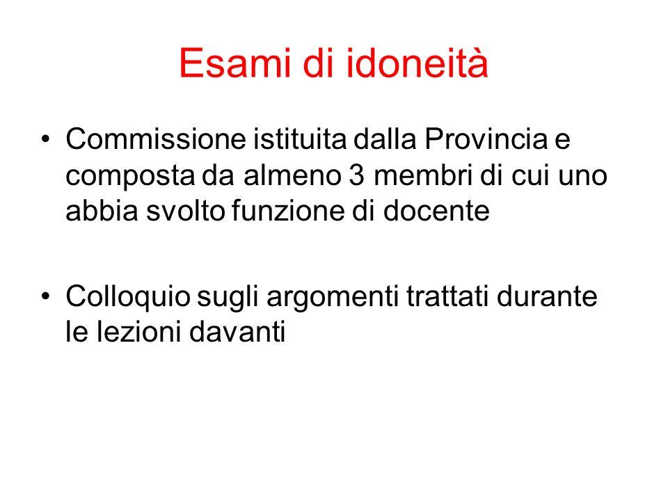 Esami di idoneità Commissione istituita dalla Provincia e composta da almeno 3 membri di cui uno abbia svolto funzione di docente.