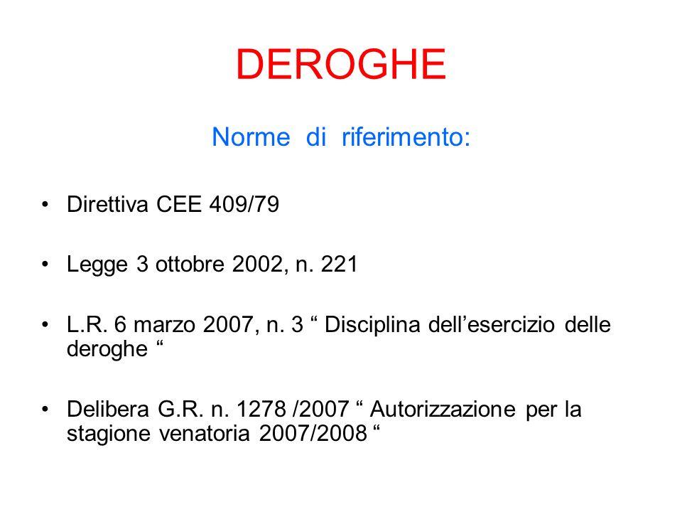 DEROGHE Norme di riferimento: Direttiva CEE 409/79
