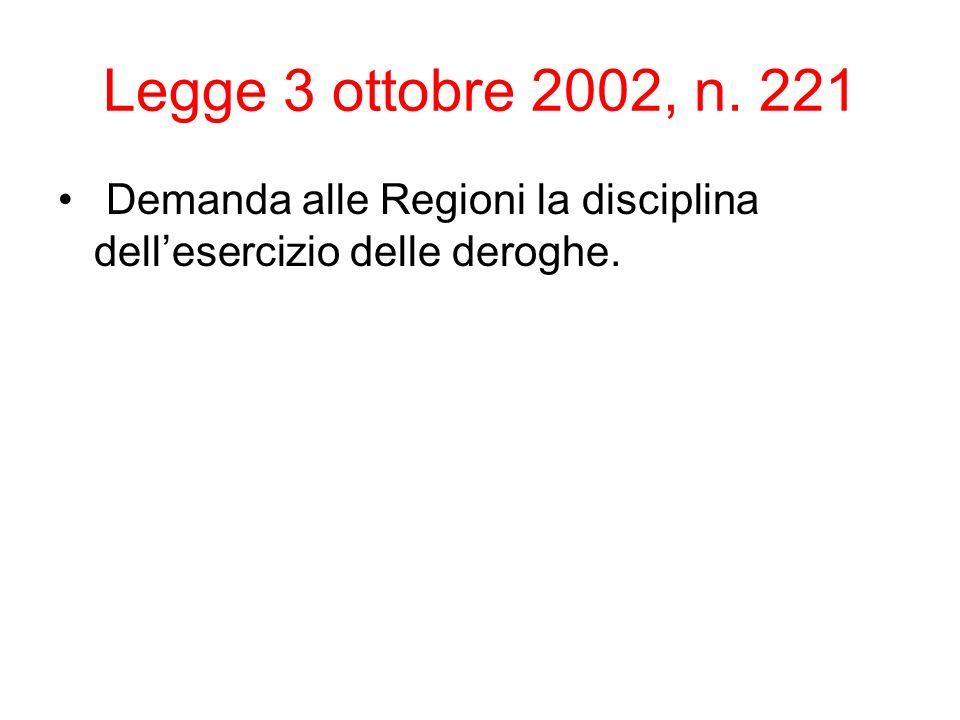 Legge 3 ottobre 2002, n. 221 Demanda alle Regioni la disciplina dell'esercizio delle deroghe.