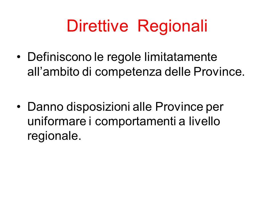 Direttive Regionali Definiscono le regole limitatamente all'ambito di competenza delle Province.