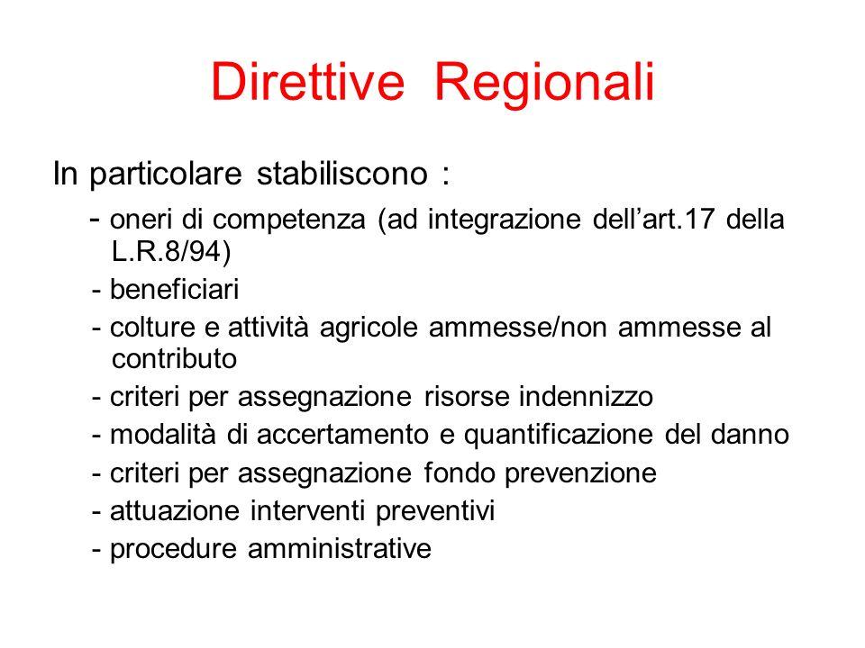 Direttive Regionali In particolare stabiliscono :