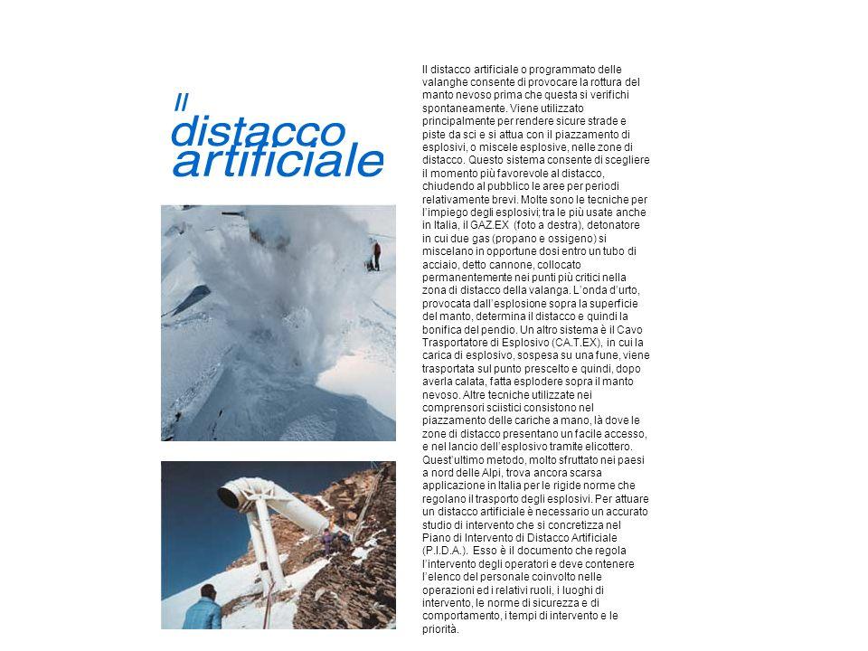 Il distacco artificiale o programmato delle valanghe consente di provocare la rottura del manto nevoso prima che questa si verifichi spontaneamente.