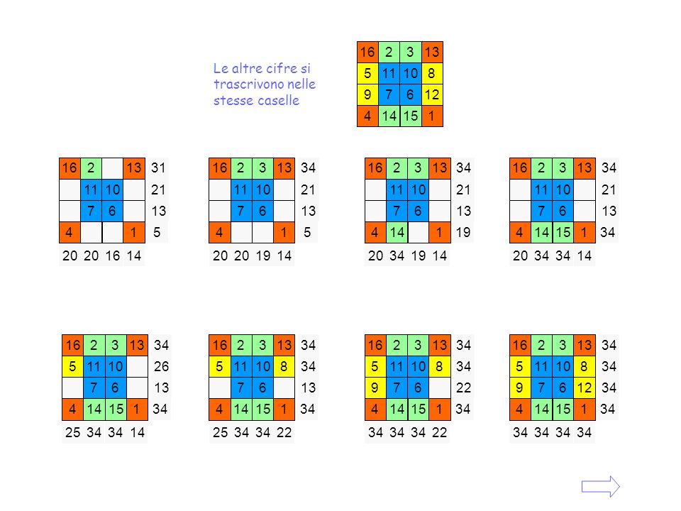 16 2. 3. 13. 5. 11. 10. 8. 9. 7. 6. 12. 4. 14. 15. 1. Le altre cifre si trascrivono nelle stesse caselle.