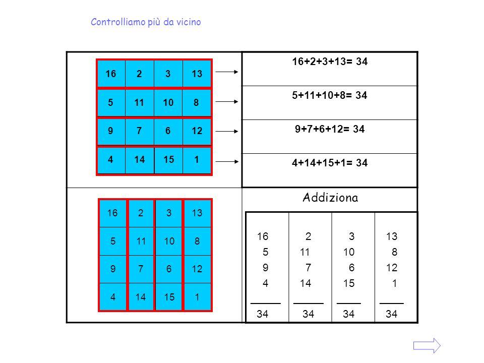 Addiziona 16+2+3+13= 34 5+11+10+8= 34 9+7+6+12= 34 4+14+15+1= 34 16 5