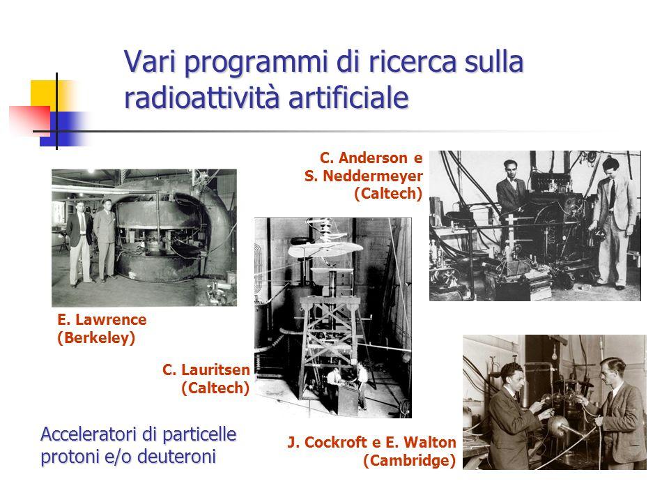 Vari programmi di ricerca sulla radioattività artificiale