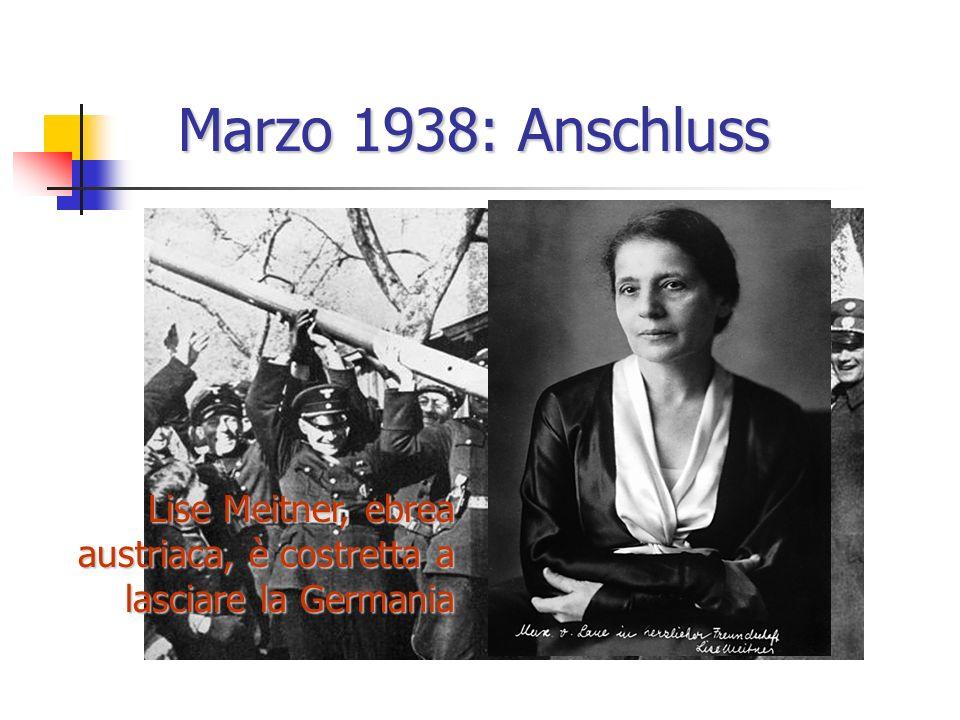 Marzo 1938: Anschluss Lise Meitner, ebrea austriaca, è costretta a lasciare la Germania