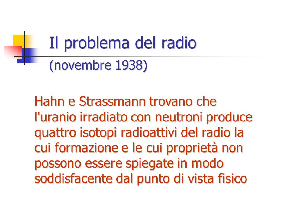 Il problema del radio (novembre 1938)