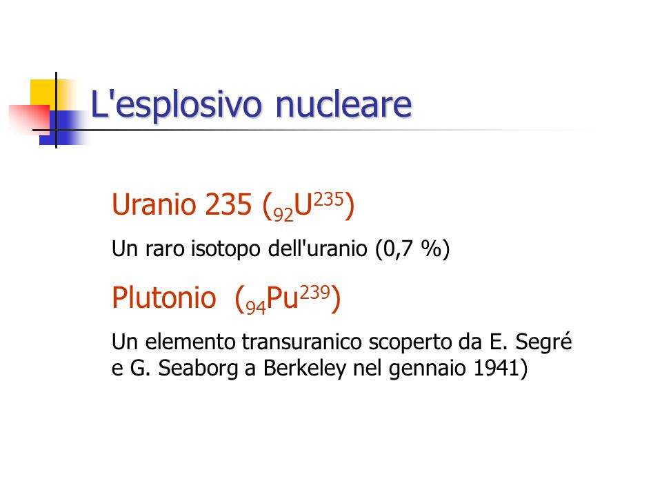 L esplosivo nucleare Uranio 235 (92U235) Plutonio (94Pu239)