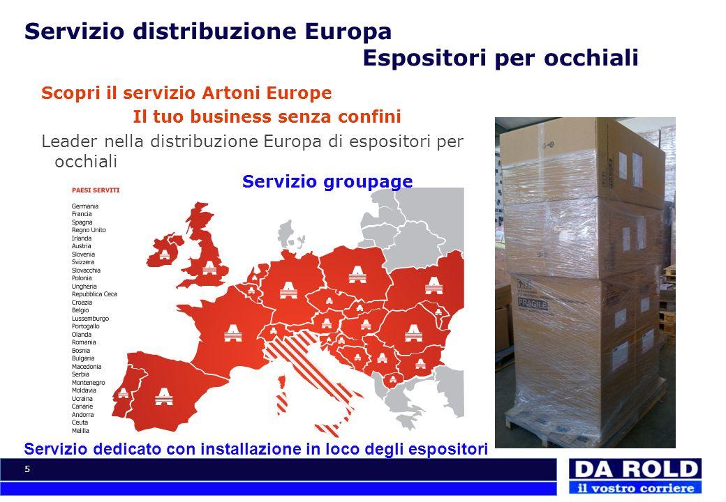 Servizio distribuzione Europa Espositori per occhiali
