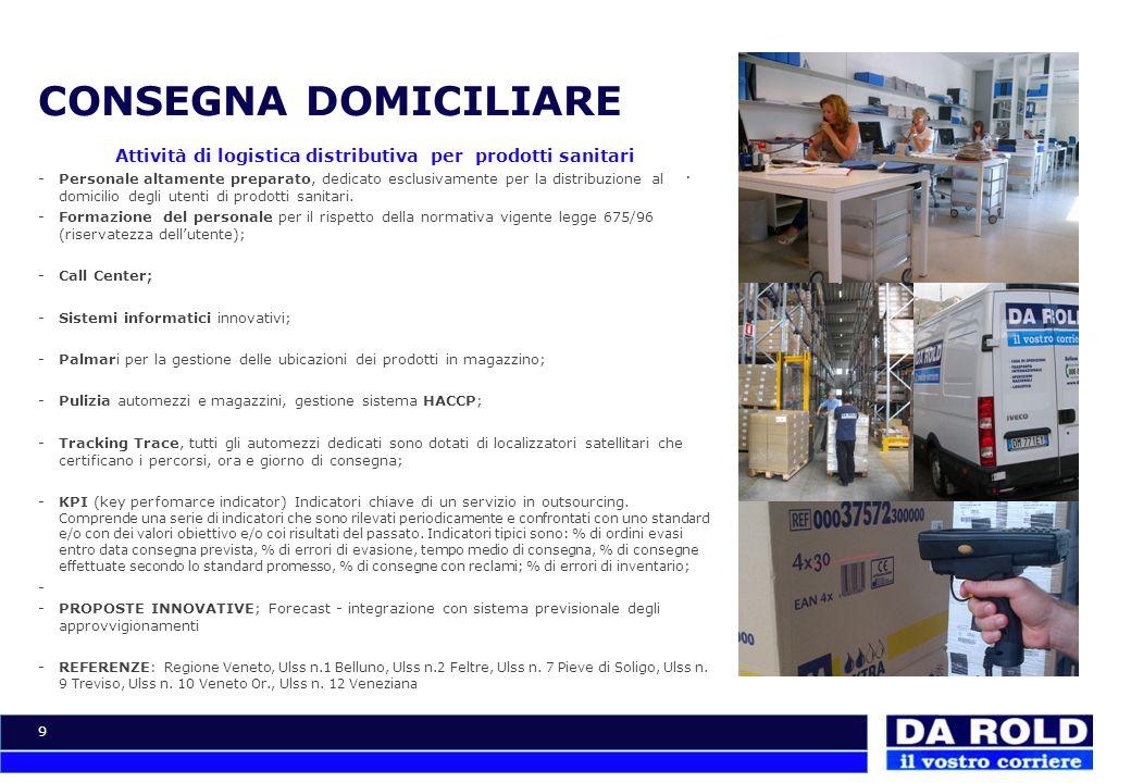 Attività di logistica distributiva per prodotti sanitari