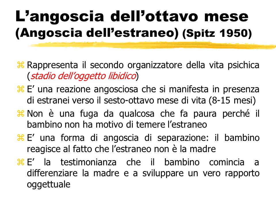 L'angoscia dell'ottavo mese (Angoscia dell'estraneo) (Spitz 1950)