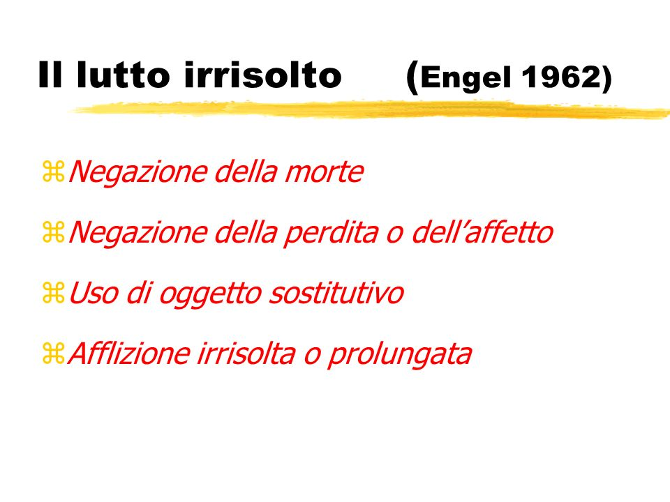 Il lutto irrisolto (Engel 1962)