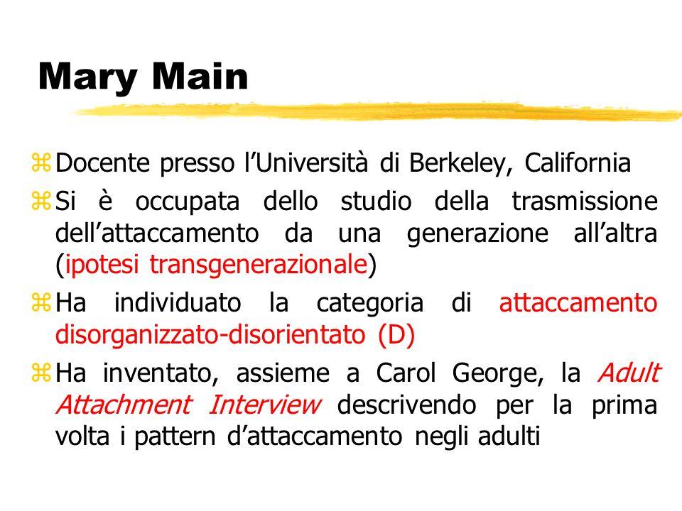 Mary Main Docente presso l'Università di Berkeley, California