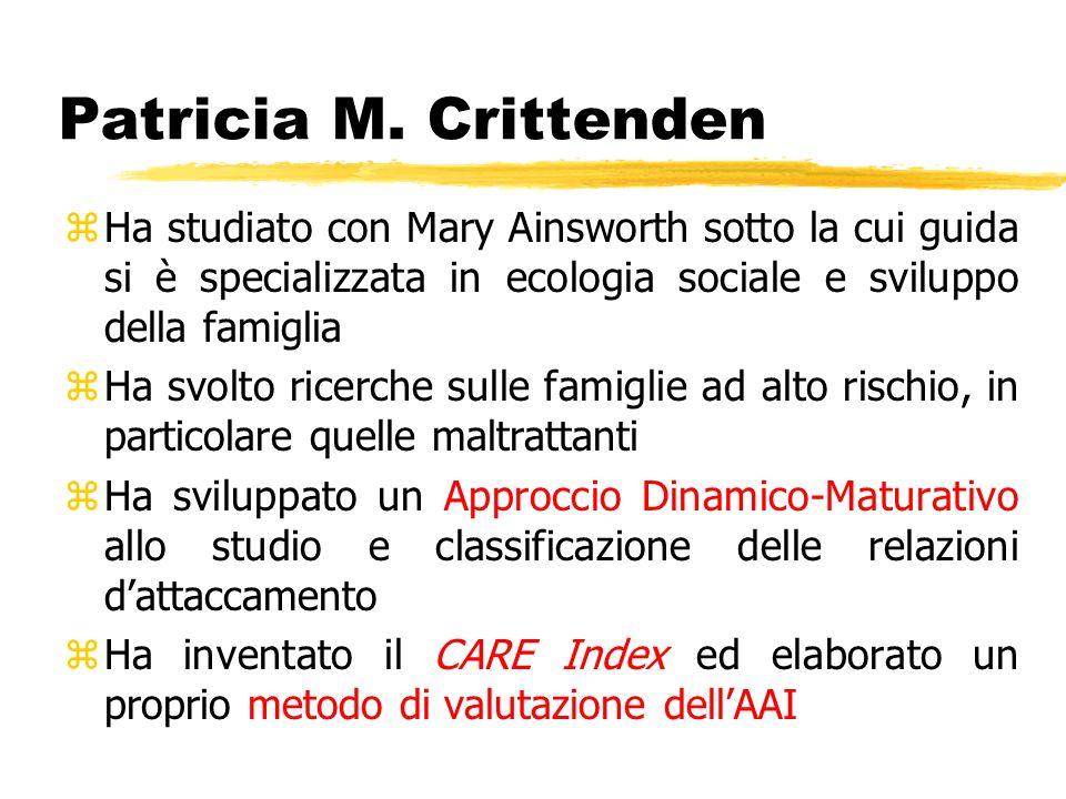 Patricia M. CrittendenHa studiato con Mary Ainsworth sotto la cui guida si è specializzata in ecologia sociale e sviluppo della famiglia.