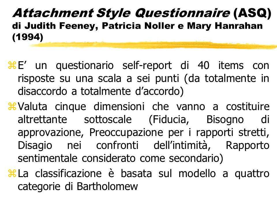 Attachment Style Questionnaire (ASQ) di Judith Feeney, Patricia Noller e Mary Hanrahan (1994)