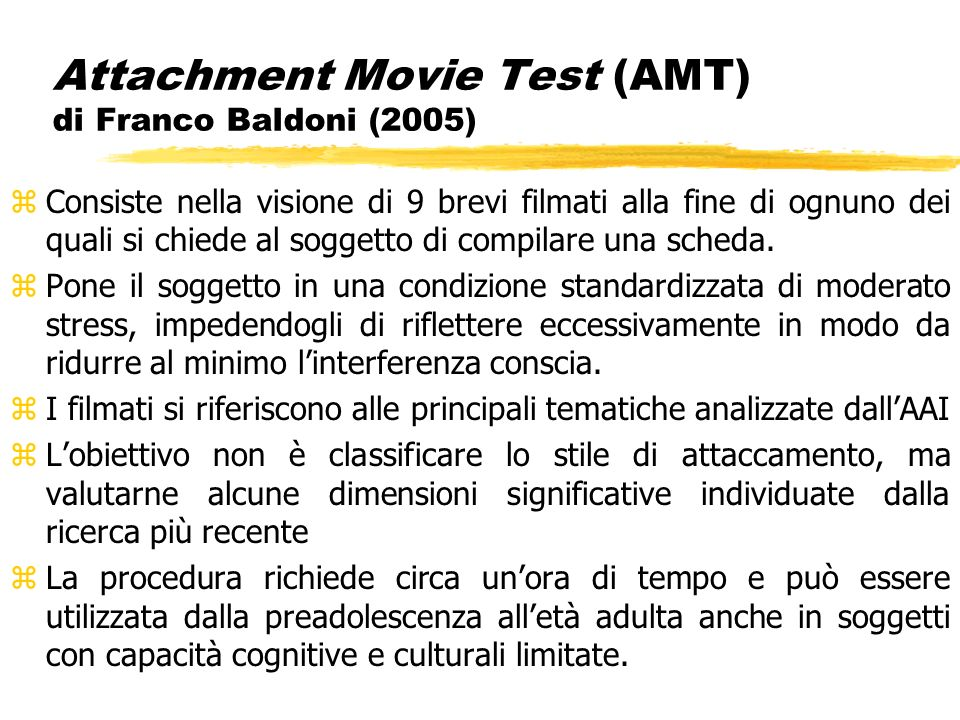 Attachment Movie Test (AMT) di Franco Baldoni (2005)