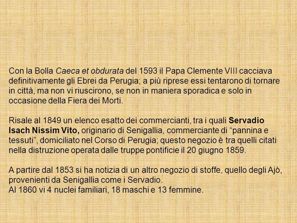 Con la Bolla Caeca et obdurata del 1593 il Papa Clemente VIII cacciava definitivamente gli Ebrei da Perugia; a più riprese essi tentarono di tornare in città, ma non vi riuscirono, se non in maniera sporadica e solo in occasione della Fiera dei Morti.