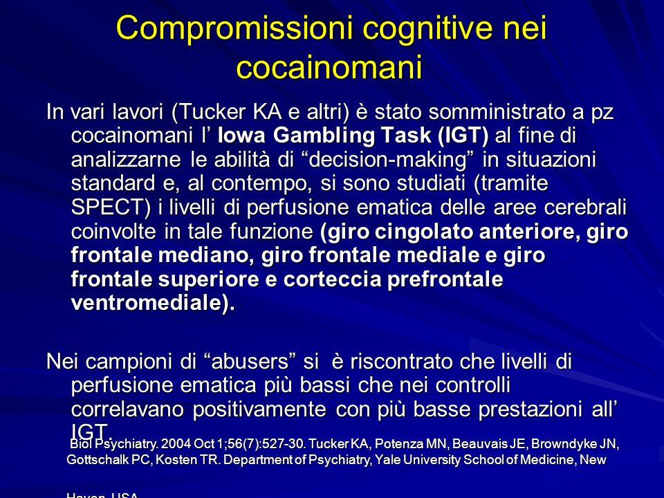 Compromissioni cognitive nei cocainomani