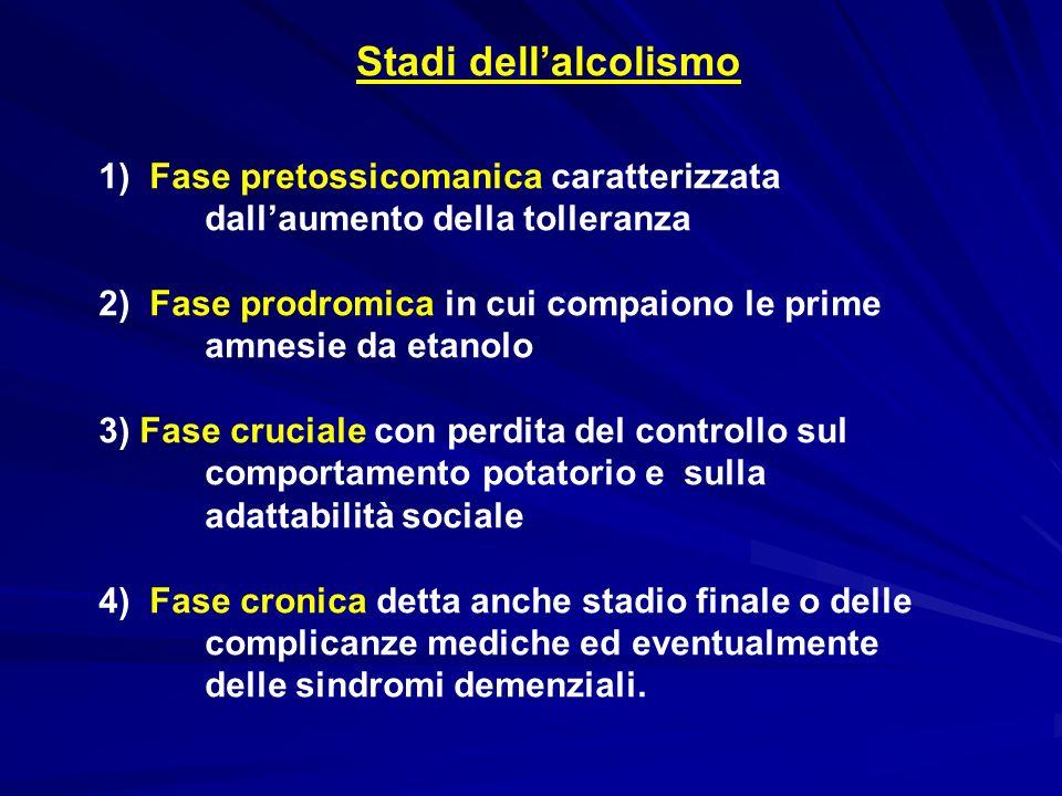 Stadi dell'alcolismo 1) Fase pretossicomanica caratterizzata dall'aumento della tolleranza.