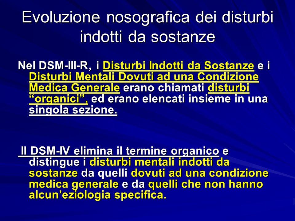 Evoluzione nosografica dei disturbi indotti da sostanze