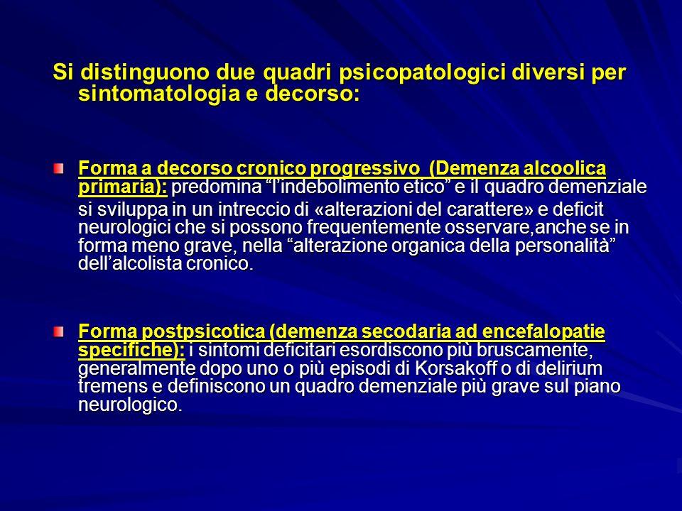 Si distinguono due quadri psicopatologici diversi per sintomatologia e decorso: