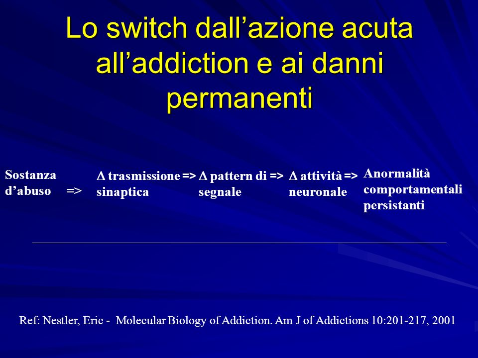 Lo switch dall'azione acuta all'addiction e ai danni permanenti