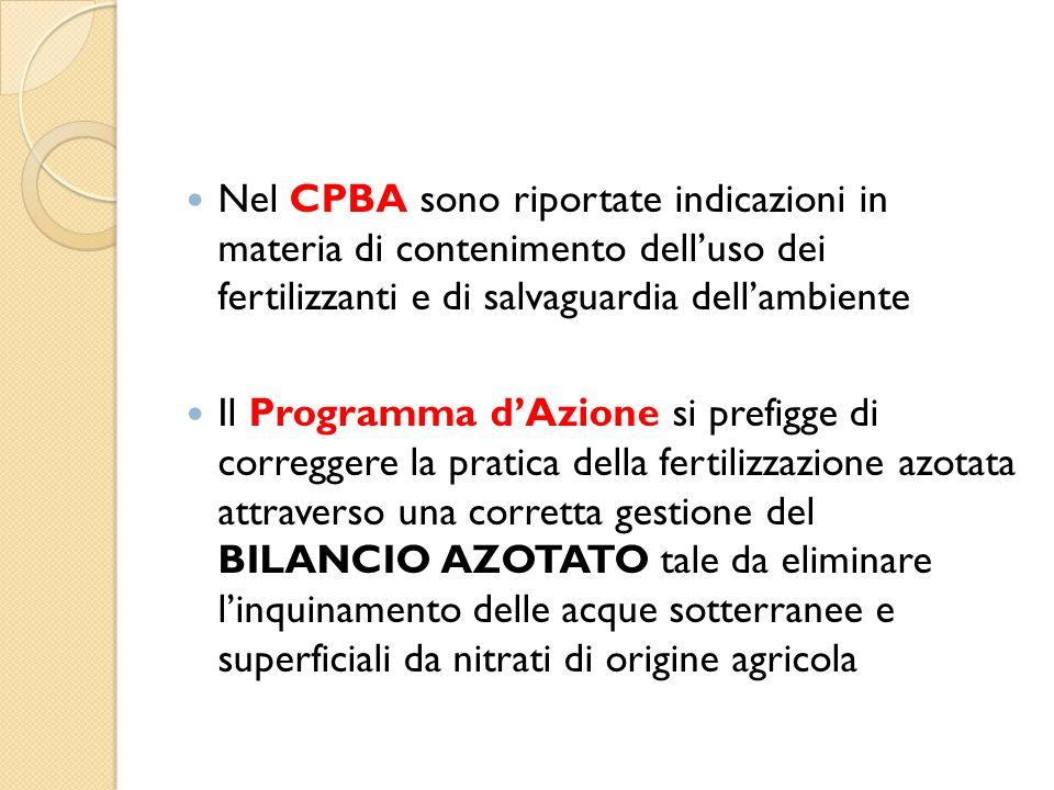 Nel CPBA sono riportate indicazioni in materia di contenimento dell'uso dei fertilizzanti e di salvaguardia dell'ambiente