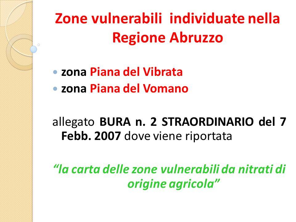 Zone vulnerabili individuate nella Regione Abruzzo