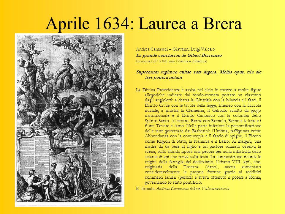 Aprile 1634: Laurea a Brera Andrea Camassei – Giavanni Luigi Valesio