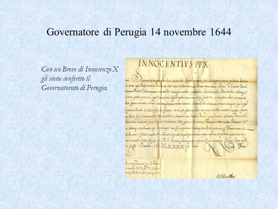 Governatore di Perugia 14 novembre 1644